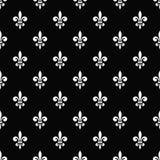 Golden fleur-de-lis seamless pattern black 7 Stock Image