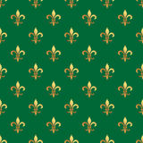 Golden fleur-de-lis seamless pattern. Gold template. Floral classic texture. Fleur de lis royal lily retro background. Design vint Stock Photos