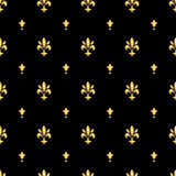 Golden fleur-de-lis seamless pattern. Gold template. Floral classic texture. Fleur de lis royal lily retro background. Design vint Royalty Free Stock Photo
