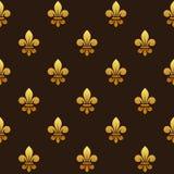 Golden Fleur de lis Seamless Pattern. Vector Royalty Free Stock Photo