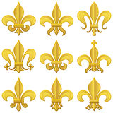 Golden Fleur de Lys Set Royalty Free Stock Images