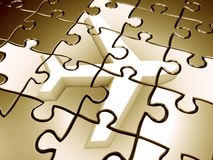 Golden flight puzzle 3d rendered graphic Stock Photo