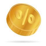 Golden floating coin with percent symbol on white. Vector illust Royalty Free Stock Image