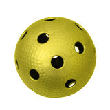 Golden floorball. Ball isolated on a white background Stock Photos