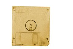 Golden floppy disk Stock Photo