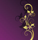 Golden floral background. With space for text Stock Illustration