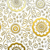 Golden Floral Background. This lovely background with gold colored floral design would add class to any project stock illustration