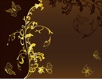Golden floral background for design Stock Photography