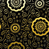 Golden Floral on Black Background Stock Photography