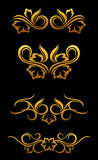 Golden floral border. S set for ornate and decoration Royalty Free Stock Photo