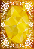 Golden floral border. Abstract floral border on a golden polygonal background Stock Photography