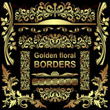 Golden floral Borders -  set. Stock Images