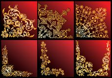 Golden floral corners collection. Illustration with floral corners collection on red background Royalty Free Stock Photo