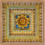 Golden floral decoration from the ceiling of the Basilica of Saint Paul Outside the Walls, in Rome. stock image