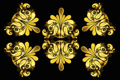 Golden floral elements Royalty Free Stock Images