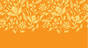 Golden floral embroidery horizontal border Stock Photo