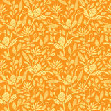 Golden floral embroidery seamless pattern Stock Image