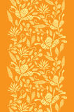Golden floral embroidery vertical border seamless Stock Photos