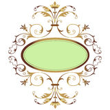Golden floral frame. Pistachio green oval shape with golden floral ornament Royalty Free Stock Photo