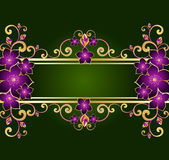 Golden floral frame. Retro style Royalty Free Stock Image