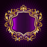 Golden floral frame. Retro style Royalty Free Stock Images