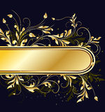 Golden floral frame Stock Photography