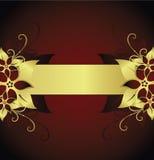 Golden floral frame. On red background Stock Illustration