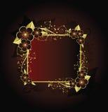 Golden floral frame. On red background Royalty Free Illustration