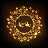 Golden floral frame for holy month, Ramadan Kareem celebration. Holy month of Muslim community, Ramadan Kareem celebration with golden floral design decorated Stock Photo