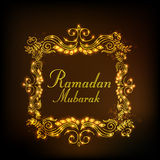 Golden floral frame for holy month, Ramadan Kareem celebration. Royalty Free Stock Photos