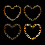 Golden floral heart frame Stock Photos