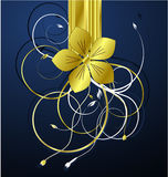 Golden floral illustration vector Stock Image