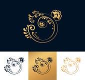 Golden floral logo for your company. Stock Photos