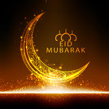 Golden floral moon for Eid Mubarak celebration. Royalty Free Stock Photo
