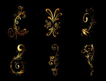 Golden Floral Ornament Background Vector Set Royalty Free Stock Images