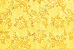 Golden floral ornament brocade textile pattern Stock Photography