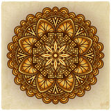 Golden floral ornament. circular pattern old background Stock Photo