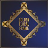 Golden floral ornament frame design. Gold frame background design with luxury floral ornament. Applied in invitation designs,. Cards and decorative ornaments vector illustration