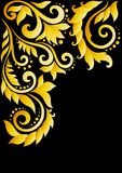 Golden floral ornament with leaves and swirls in t Stock Photos
