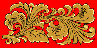 Golden floral ornament on red Stock Image