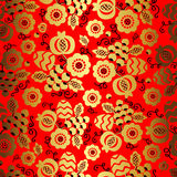 Golden floral ornament on red background in chinese style Royalty Free Stock Photos
