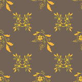 Golden floral ornament seamless background. Vector Stock Image