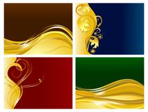 Golden floral ornaments background set. Abstract waves and floral golden ornaments over dark colors Stock Photos