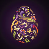 Golden floral ornate Easter egg Royalty Free Stock Image