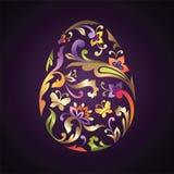 Golden floral ornate Easter egg Royalty Free Stock Image