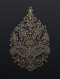 Golden floral paisley ornament. Stock Image