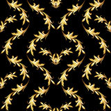 Golden floral pattern on black Stock Images