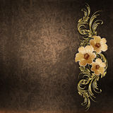 Golden floral pattern   on a grunge background Stock Photos