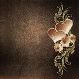 Golden floral pattern with hearts on a grunge background Royalty Free Stock Image
