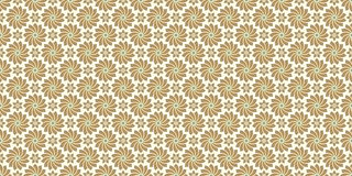 Golden floral pattern, part 03. Seamless golden pattern with flower in outlines and rhombuses on the white background. Can use for wrapping paper, textile and Stock Photo